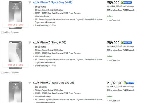 Apple iPhone X Flipkart