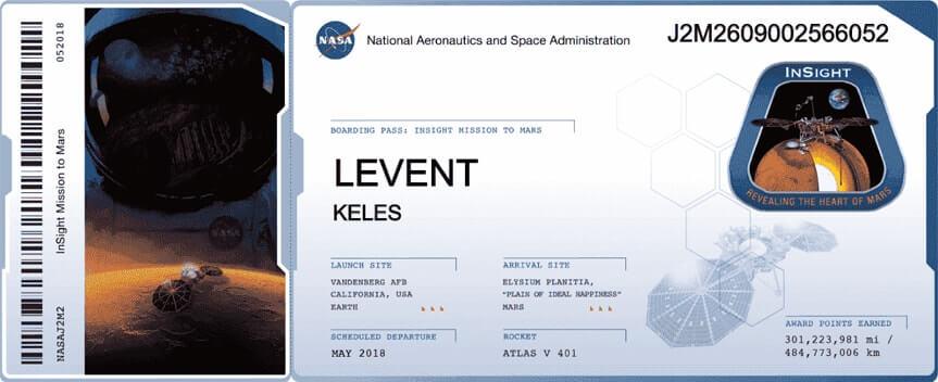 NASA Insight aracı kayıt