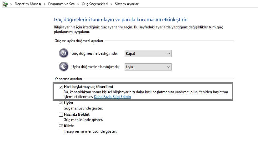Windows 10 hızlı başlatma özelliği