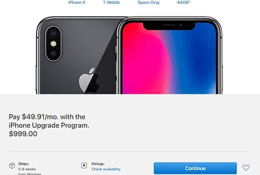 iPhone X resmi websitesi