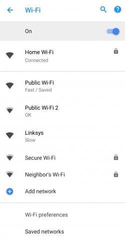 Android 8.1 Wi-Fi hızı ekran görüntüsü