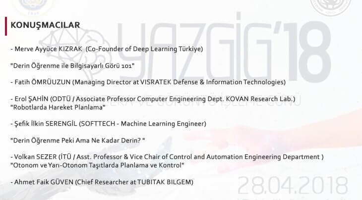 YAZGİG 2018 konuşmacılar listesi
