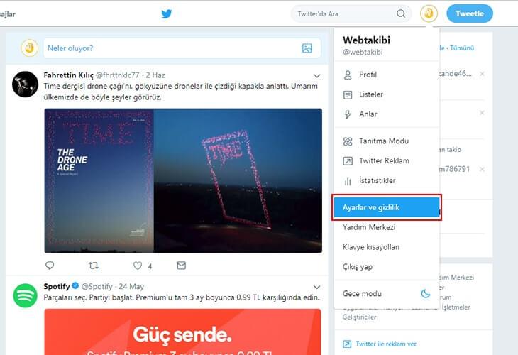 Twitter hesabı silme - Twitter hesabı devre dışı bırakma adım 1