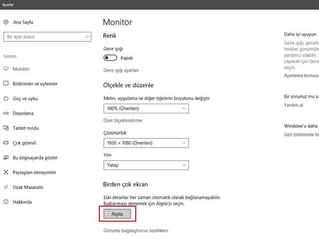 Windows 10 çift monitör yapımı